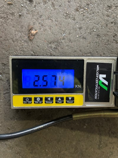 Walker Certification testing measurement in kilonewtons