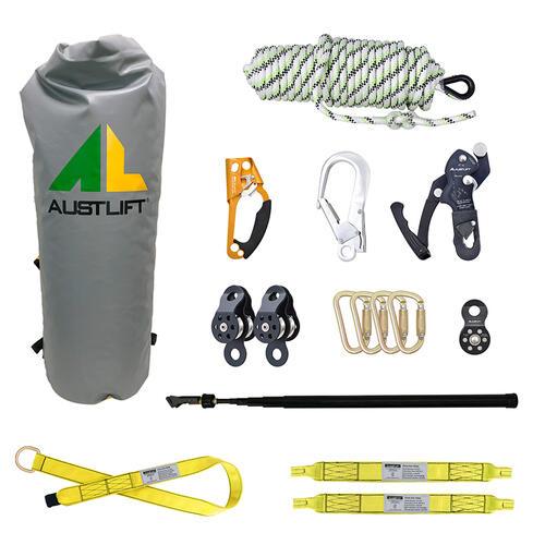 Rescue kit with rope, pulleys, bag, web slings, hooks, karabiner
