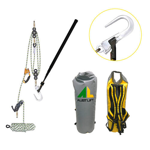 Rescue kit with rope pulley, bag, harness, hook